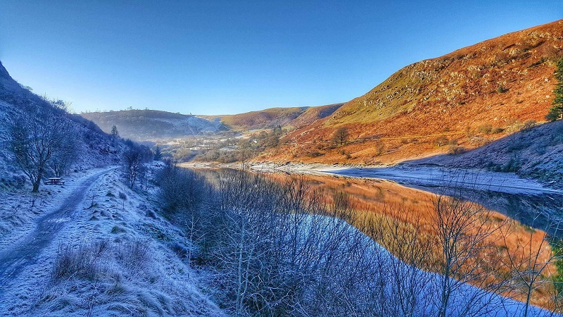 Winter scenery Elan Valley walks Wales